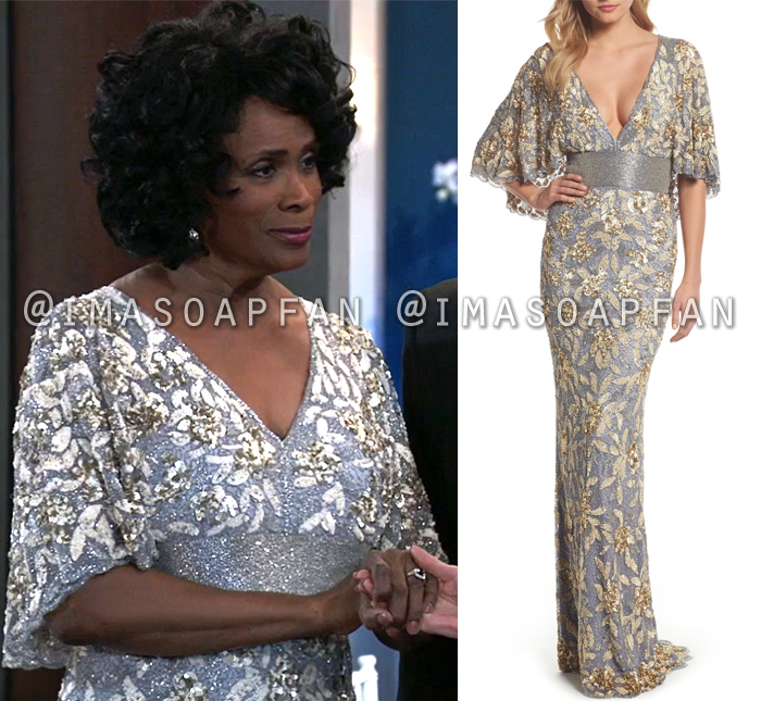 Yvonne Godfry, Janet Hubert, Silver and Gold Embellished Gown with Cape Sleeves, Dresses, Nurses Ball, General Hospital, GH