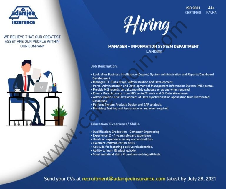 Adamjee Insurance Company Ltd Jobs Manager Information System