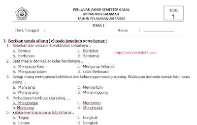 Contoh Soal UAS/PAS Kelas 1 SD/MI Semester 1 K13