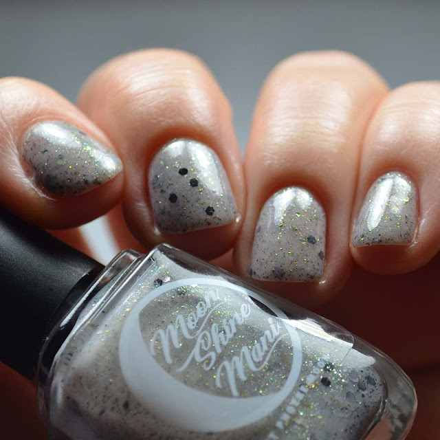 grey creme with multichrome flakies and shimmer swatch