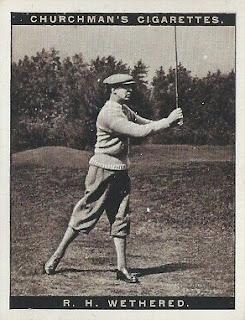Cigarette card depicting golfer Roger Wethered