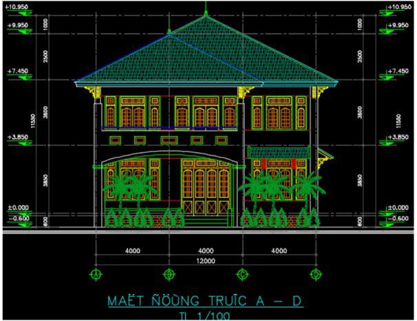Chia sẻ bản vẽ nhà 2 tầng 12x12m