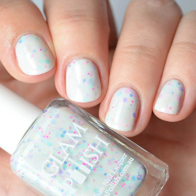 white nail polish with glitter