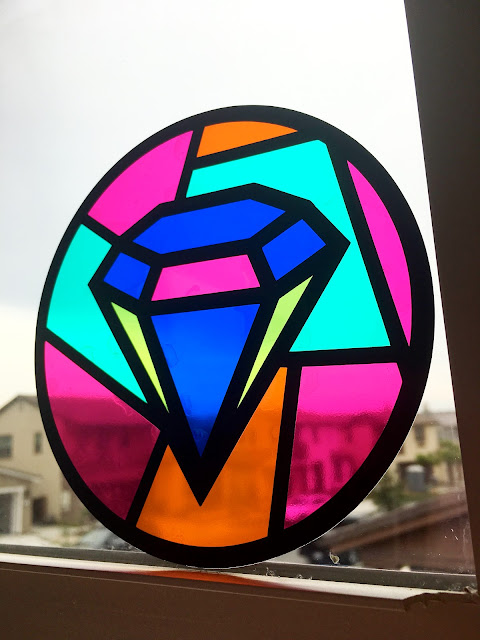 stained glass vinyl decal, layering vinyl, 2 color vinyl decals, multi color vinyl cutter, silhouette cameo project ideas
