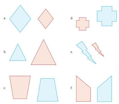 Tunjukkan apakah gambar yang berwarna biru merupakan hasil dilatasi dari gambar yang berwarna merah