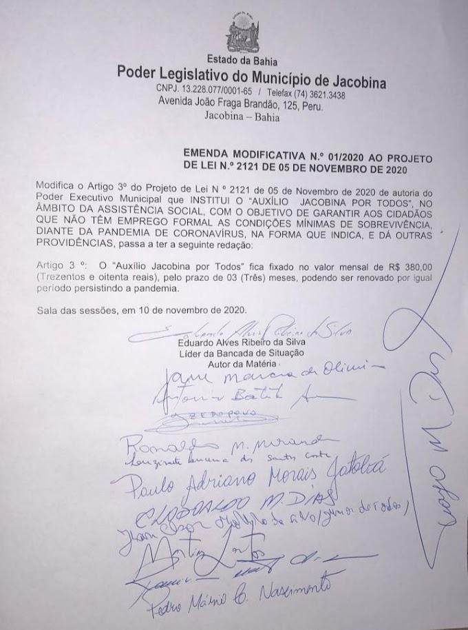 Câmara de Jacobina aprova Auxílio Emergencial de R$ 380,00