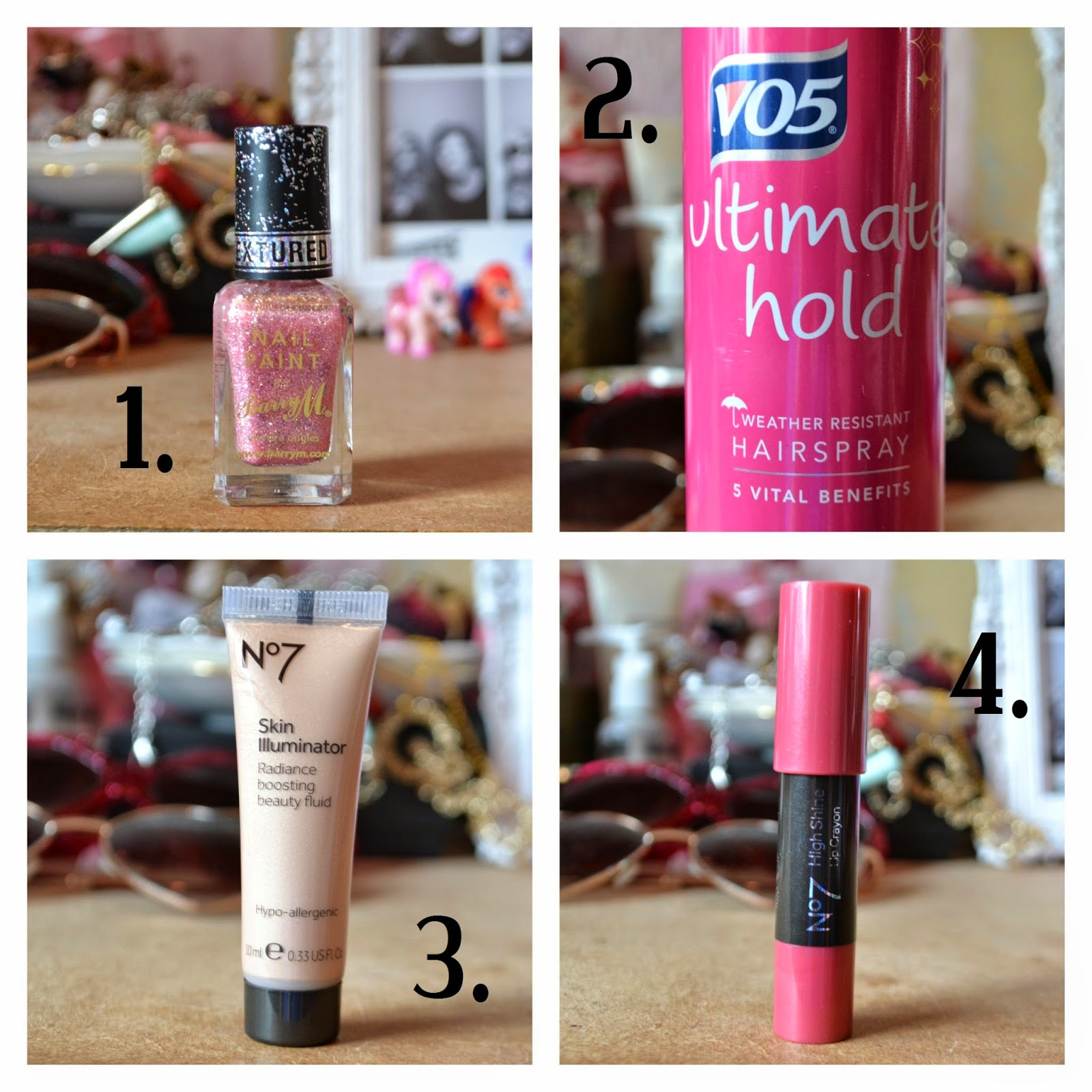 a collage of this months favorite beauty products
