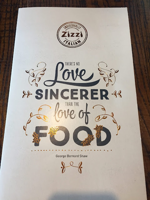 Zizzi Italian Birstall review the menu