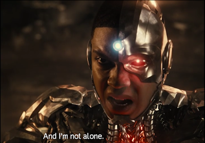 """Subsequent close-up shot of Cyborg saying """"And I'm not alone."""""""