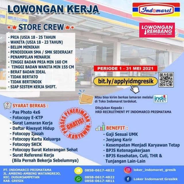 Lowongan Kerja Store Crew Indomaret Penempatan Gresik, Surabaya, Lamongan, Tuban, Madura, dan Rembang-Jawa Tengah