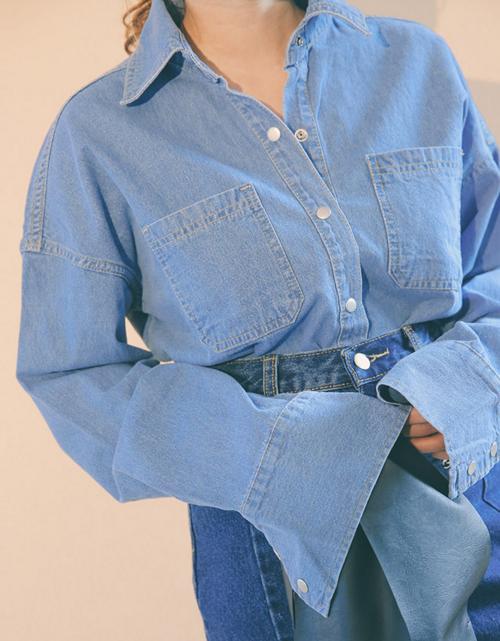 Dropped Shoulder Button-Down Denim Shirt