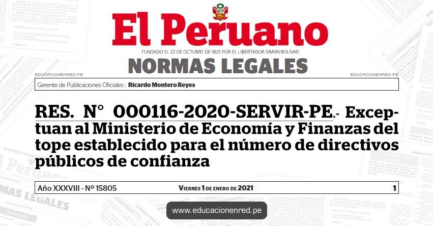 RES. N° 000116-2020-SERVIR-PE.- Exceptuan al Ministerio de Economía y Finanzas del tope establecido para el número de directivos públicos de confianza