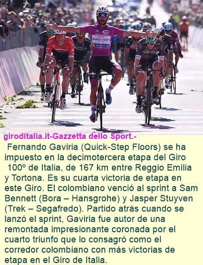 GIRO: Cuarta victoria de etapa para el esprinter colombiano, record para Colombia.