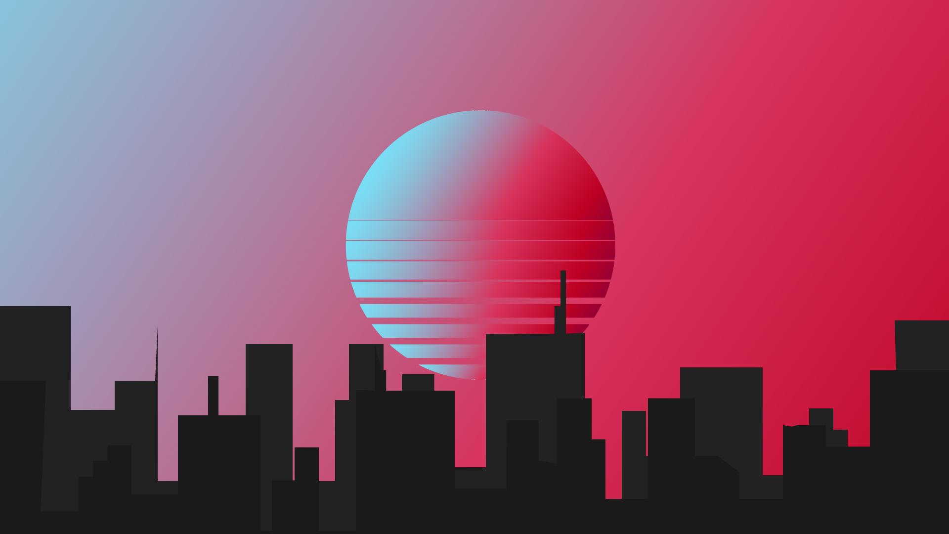 synth retro wave city silhouette buildings wallpaper for pc desktop laptop mac