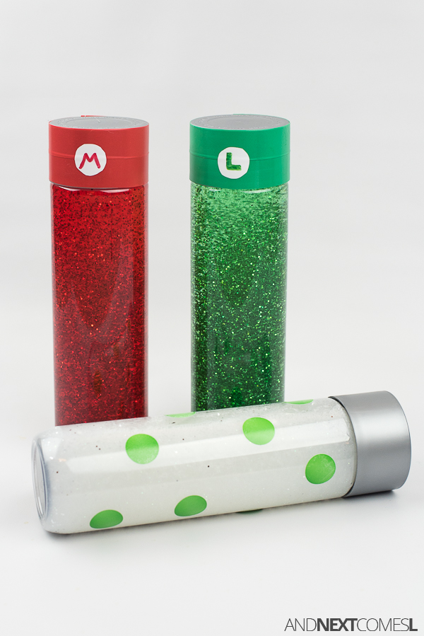 Super Mario glitter jars/calming bottles