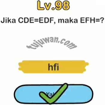 Jawaban Level 98 Brain Out Jika CDE=EDF Maka EFH=?