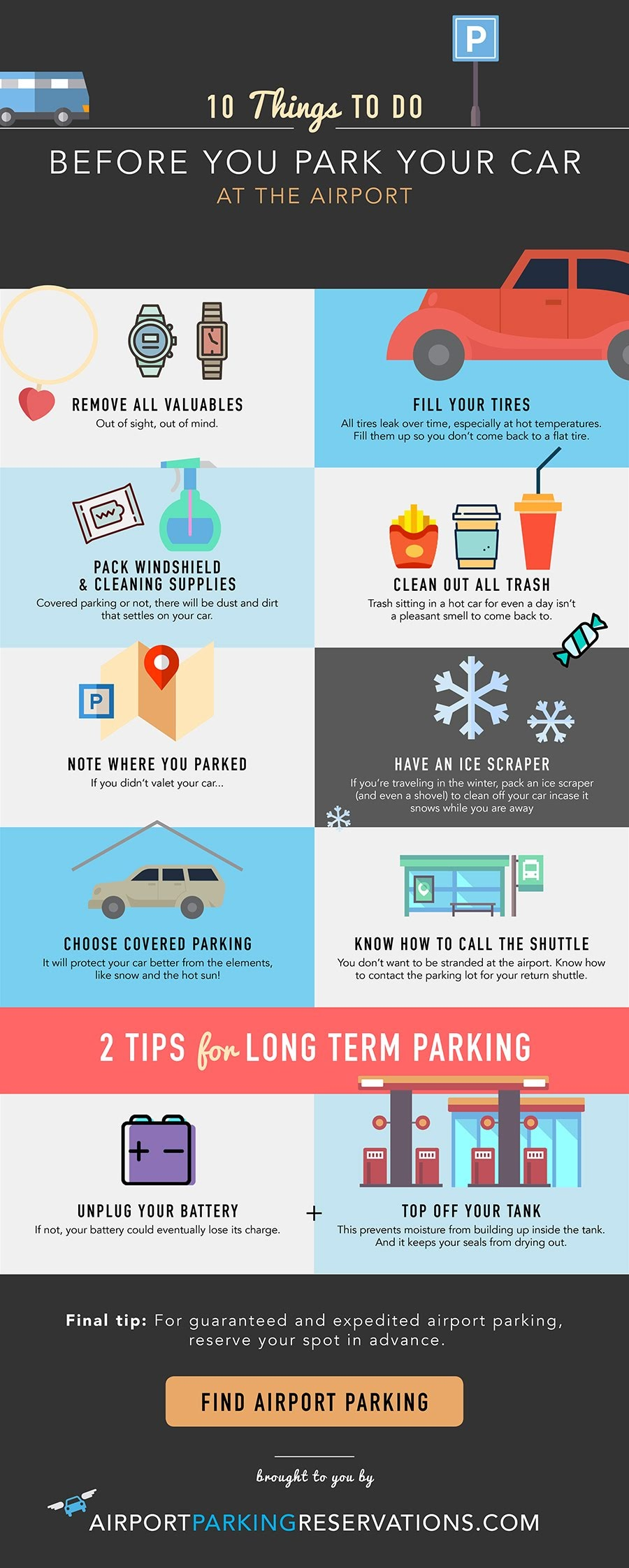 10 Things to Do Before You Park Your Car at the Airport #infographic