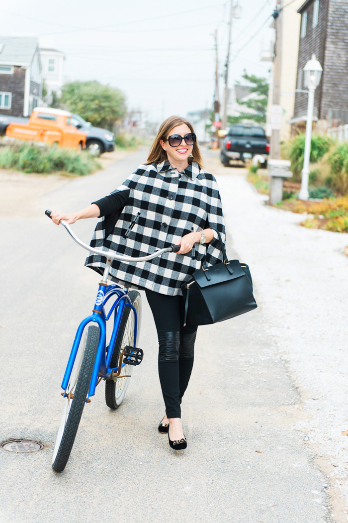 black and white plaid cape Talbots