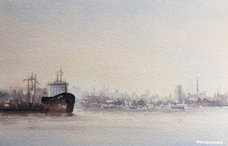 A Ship at berth , A watercolor painting on Arches Cold pressed paper