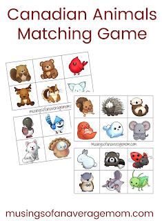Canadian animals matching game