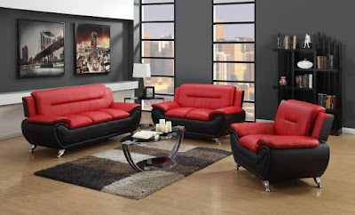 Perpaduan Warna Ruang Tamu merah hitam - Living Room red and black color