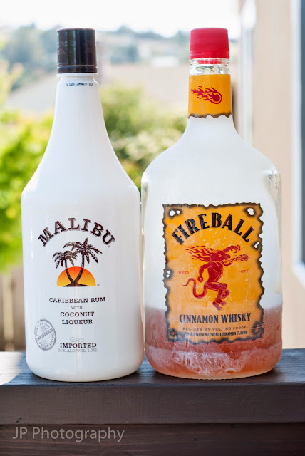 sun burn cocktail shot, fireball whisky, cinnamon whisky, coconut rum, malibu rum