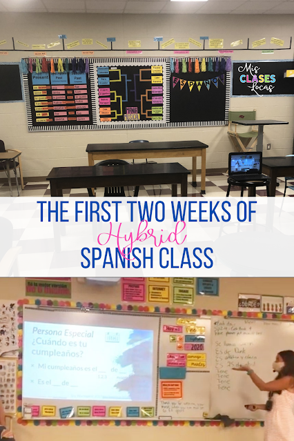 The First 2 Weeks of Spanish Class - Back to School with Hybrid Spanish Class - shared by Mis Clases Locas