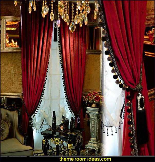 red velvet curtains boudoir window treatments decorating windows moulin rouge style