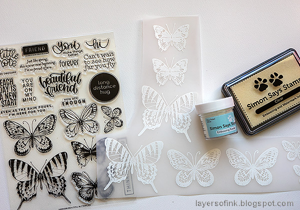 Layers of ink - Wax Paper Resist Video Tutorial by Anna-Karin Evaldsson. White emboss the butterflies.