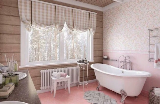 Provence style curtains for the bathroom