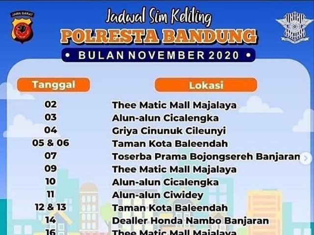 Jadwal Lengkap Layanan SIM Keliling Polresta Bandung Bulan November 2020