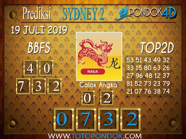 Prediksi Togel SYDNEY 2 PONDOK4D 19 JULI 2019