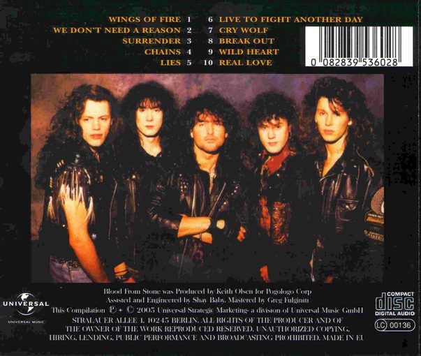 DARE - Blood From Stone [reissue] back