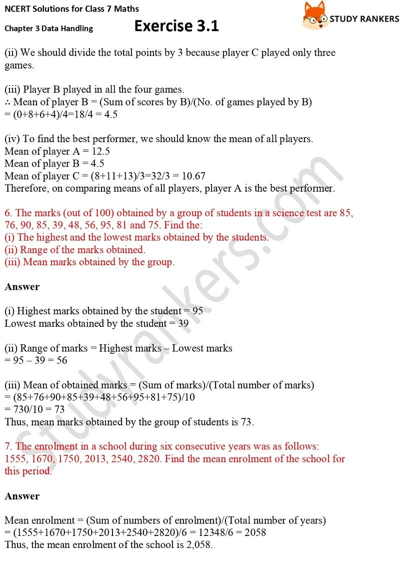 NCERT Solutions for Class 7 Maths Ch 3 Data Handling Exercise 3.1 3