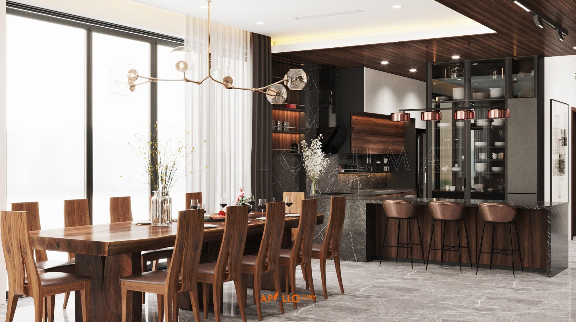Thiết kế phòng khách đẹp biệt thự Ecopark