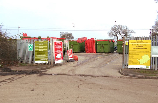 Potters Bar household waste recycling centre, Cranbourne Industrial Estate Image courtesy of Welwyn Hatfield Borough Council