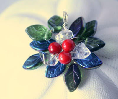 Berries and leaves: coral, quartz crystal, Czech glass :: All Pretty Things