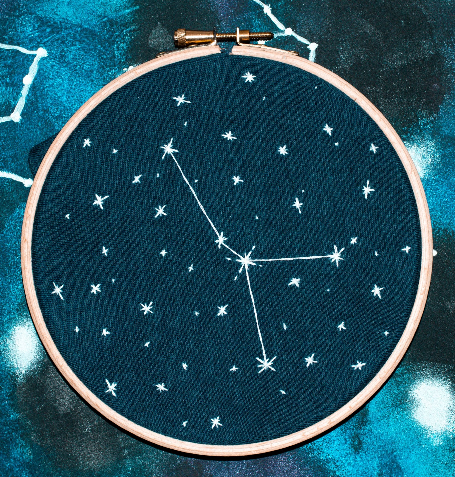 CANCER STAR CONSTELLATION EMBROIDERY BY ANNA TWENTY SEVEN