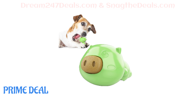 62%off USWT Dog Lick Toy, Slow Treater Treat Dispensing,Depressing Toys,Teeth Cleaning Chew Toy, Comes with 3pcs Dog Treat (Green)
