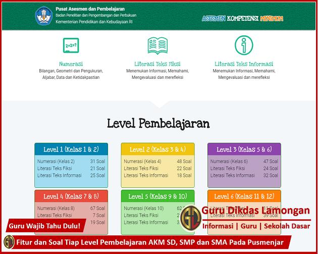 Fitur dan Soal Tiap Level Pembelajaran AKM SD, SMP dan SMA Pada Pusmenjar