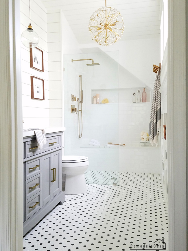 white and gray modern - antique master bathroom