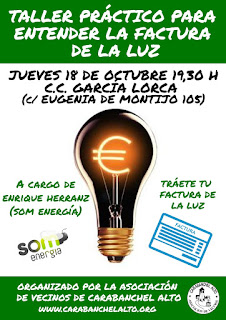 Charla factura de energia en C.C. Garcia Lorca @ A.V.V. de Carabanchel Alto
