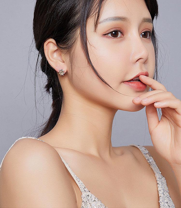 彩虹七彩鋯石 925純銀耳環
