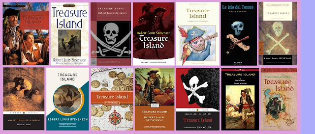 portadas de la novela clásica de aventuras La isla del tesoro