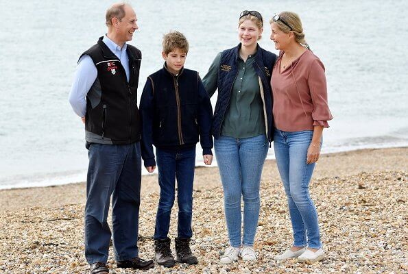 The Earl and Countess of Wessex, Lady Louise Windsor and James, Viscount Severn took part in Great British September Clean on Southsea Beach