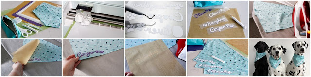 Step-by-Step DIY using Cricut heat transfer vinyl to decorate dog bandanas