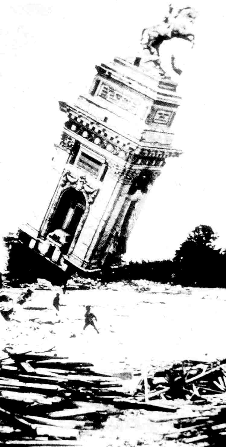 a photograph of a 1901 Pan American Exposition demolition accident