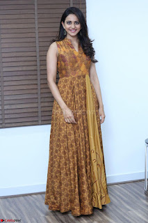 Rakul Preet Singh smiling Beautyin Brown Deep neck Sleeveless Gown at her interview 2.8.17 ~  Exclusive Celebrities Galleries