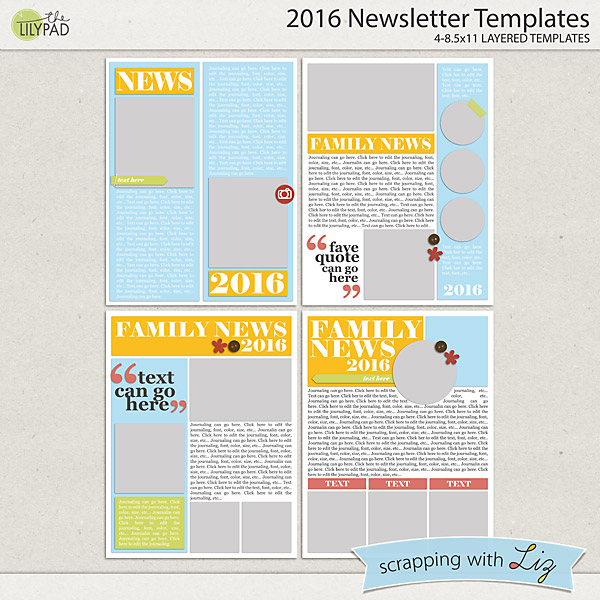 Scrapping With Liz: 2016 Newsletter Templates And 60% Off Select