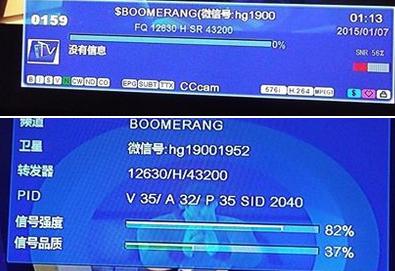 Boomerang TV Channel Transponders on TELSTAR Satellite @ 138